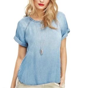Anthro Cloth & Stone Chambray cuff cap sleeve top